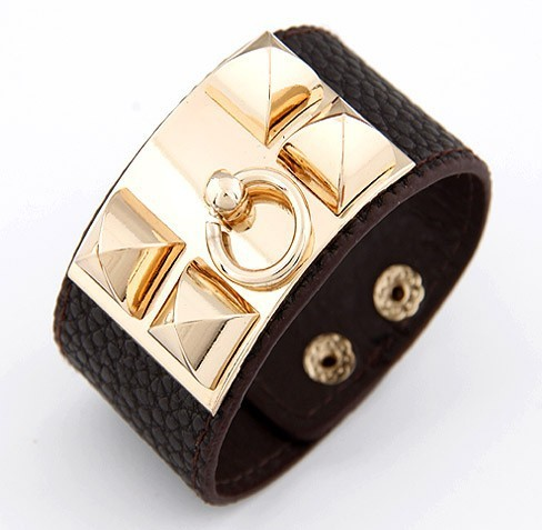 Designer Style Studded Leather Cuff Bracelet