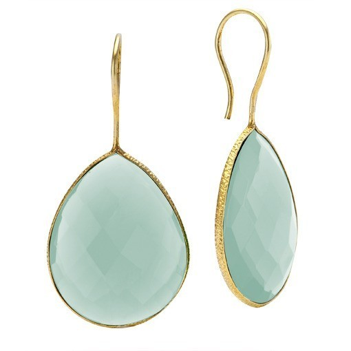 Kyle S Original Genuine Sea Green Chalcedony Teardrop Earrings 22k Gold