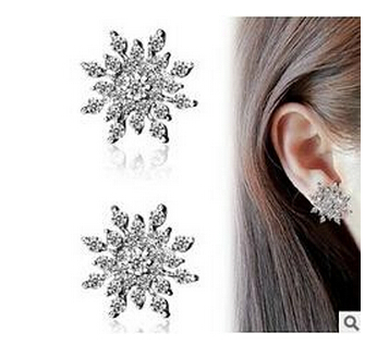 Crystal Snowflake Earrings On